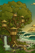 """Wilbur's Treehouse"" 12""x18' Gallery wrapped canvas print."